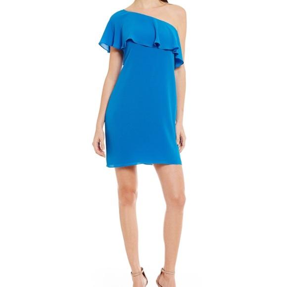 Maggy London Dresses One Shoulder Asymmetrical Ruffle Plus Size